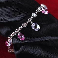 Vintage Exotic Sterling Silver White Topaz Amethyst Pink Tourmaline Dangle Link Bracelet BB1314|We combine shipping|No Question Refunds|Bid over $60 for free shipping. Starting at $1