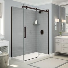 Utile By MAAX 32 In. X 60 In. X 83.5 In. Direct To Stud Right Corner Shower  Kit In Metro Ash Grey With Dark Bronze Door