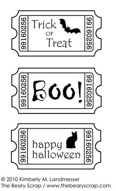 The Beary Scrap Paper Crafting Boutique: Freebie Halloween Ticket Digi Stamp