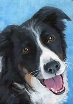 commissioned dog portrait, painting by artist Ria Hills