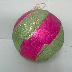 ORNAMENT STRIPE BALL LIME/HOT PINK 100MM