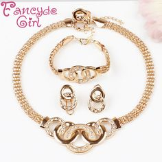 Fancyde Girl Brand Gold Color Jewelry Sets for Women  Fashion Acrylic Crystal Pendant Necklace Earrings and Ring Set Christmas #Affiliate