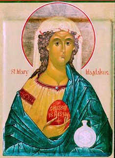 """Easter Monday: What about, The Gospel of Mary Magdalene? http://www.pbs.org/wgbh/pages/frontline/shows/religion/maps/primary/mary.html  What about The Eastern Orthodox Tradition of, """"The Legend of Paschal Eggs.""""  http://www.holycrossonline.org/our_parish/lenten_resource_center/articles/legend-of-paschal-eggs.pdf"""