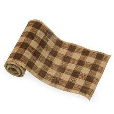 Burcheck # 250 Natural Burlap ribbon check print -brown