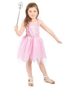 Disfraz hada princesa rosa niña: Este disfraz de hada princesa rosa incluye un vestido y una tiara (varita y zapatos no incluidos). El vestido es rosa claro con pequeños velos con purpurina que adornan los tirantes. La...