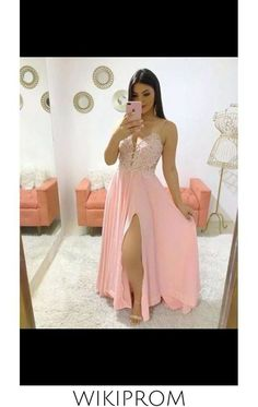 Spaghetti Strap Floor Length Prom Dresses With Slit, This dress could be custom made, there are no extra cost to do custom size and color Split Prom Dresses, Unique Prom Dresses, Beautiful Prom Dresses, Formal Dresses, Make Your Own Dress, Slit Dress, Short Prom, Special Occasion Dresses, White Lace