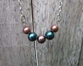 Brown and Dark Blue 5 Pearl Necklace