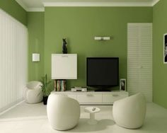 Living Room Green Accent Wall White Ceramic Tile Flooring Modern Pouffes Shelf Under Tv With Storage Black Lcd Corner Plant Curtain