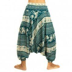 Harem pants Jumpsuit black rayon, oriental print with elephants