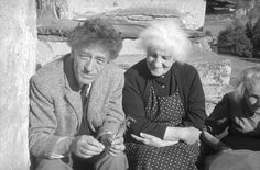 Alberto Giacometti and his mother Annett outside the house in Stampa, 1960.  Photo by Ernsts Scheidegger. v