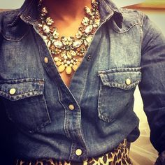 Rhinestone statement necklaces, denim blouse, and leopard pencil skirt