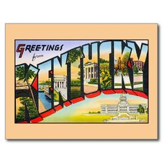 Vintage greetings from Kentucky Postcard, greeting cards, fridge magnets