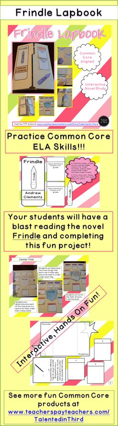 Frindle Lapbook - Novel/Unit Study - Andrew Clements. This product includes all of the pieces to create a lapbook based on the bestselling novel by Andrew Clements: Frindle. This is a great way to engage your students as you delve into the hilarious and slightly crazy world of Nick, the inventor of the Frindle.