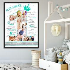 W pełni personalizowana metryczka roczkowa ze zdjęciami Twojego dziecka, która pozwoli zachować wspomnienia ważne, o których potem podczas dojrzewania można zapomnieć. Dzięki metryczce wspomnienia te będą wieczne. Diy Papier, Diy Blog, Planer, Toddler Bed, Impreza, Storage, Frame, Gifts, Home Decor