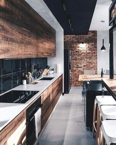 Amazing Luxury Kitchen Ideas - Expolore the best and the special ideas about Modern home design Modern Kitchen Interiors, Wood Interiors, Industrial Interiors, Interior Modern, Home Decor Kitchen, Interior Design Kitchen, Kitchen Ideas, Industrial Interior Design, Kitchen Inspiration