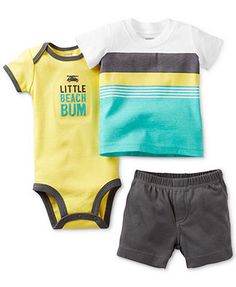 Carter's Baby Boys' 3-Piece Bodysuit, Striped Tee & Shorts Set