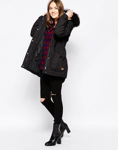 Image 4 ofOnly Parka Jacket With Faux Fur Hood