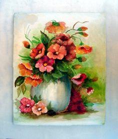 Delicado floral em acrílico sobre tela.