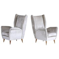 Gio Ponti Pair of High Back Armchairs in Silver Gray Velvet | See more antique and modern Armchairs at https://www.1stdibs.com/furniture/seating/armchairs