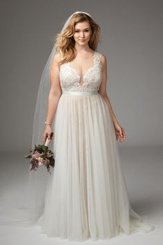 Girl With Curves featuring Plus size wedding dress from Marnie Gown #PlusSizeDresses