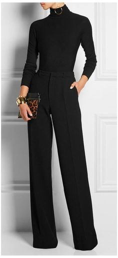 All Black Outfits For Women, Black Women Fashion, Clothes For Women, Work Clothes, All Black Outfit For Party, All Black Formal Outfits, Black Women Style, Style Clothes, Office Fashion