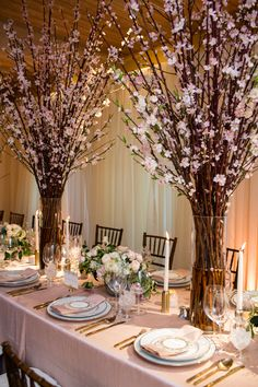 Napa Valley Wedding with Cherry Blossoms - MODwedding Wedding Table Centerpieces, Wedding Flower Arrangements, Floral Centerpieces, Wedding Decorations, Table Decorations, Branch Centerpieces, Tall Centerpiece, Centerpiece Ideas, Floral Arrangements
