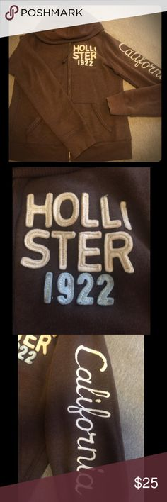 Brown Hollister Zip-Up Hoodie Zip up hoodie from Hollister in brown with white embroidery Hollister Tops Sweatshirts & Hoodies