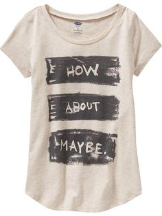 Girls Rounded-Hem Graphic Tee
