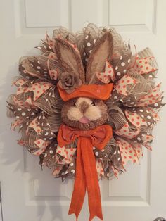 Easter wreath, Batural Bunny Face Wreath, Easter Bunny Wreath, Easter Bunny Head Wreath, Burlap Deco Mesh Wreath, Wreath, Easter, Burlap by RoesWreaths on Etsy https://www.etsy.com/listing/267584292/easter-wreath-batural-bunny-face-wreath