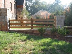 Stone columns add a beautiful touch to your split rail fence. View our full Atlanta Fence gallery here www.fenceworksofga.com