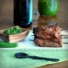 Beer and Sriracha Marinated Beef Skewers with Green Chile Sauce recipe from Food52