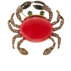 Women's Oscar De La Renta Swarovski Crystal Crab Brooch Red (345 CAD) ❤ liked on Polyvore featuring jewelry, brooches, red, swarovski crystals jewelry, oscar de la renta jewelry, beading jewelry, swarovski crystal jewellery and red brooch