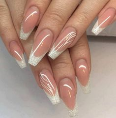 Discover new and inspirational nail art for your short nail designs. Cute Acrylic Nails, Glitter Nails, Cute Nails, Pretty Nails, Silver Glitter, Stiletto Nails, Coffin Nails, Sexy Nail Art, Sexy Nails