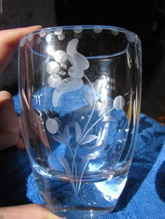 Vintage Sweden Kosta art Glass Vase Samuelsson carved flower #Samuelsson