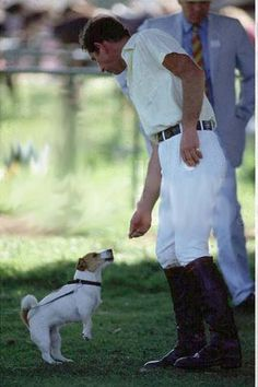"""Charles, Prince of Wales, with his dog (jack russell) """"Pooh"""""""