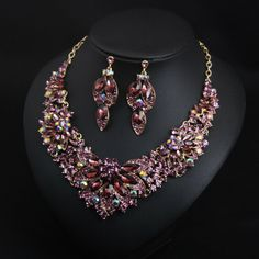 Luxury Prom Wedding Bridal Crystal Rhinestone Necklace Earrings Jewelry Set Gift | eBay Rhinestone Necklace, Crystal Necklace, Crystal Rhinestone, Gifts For Wife, Gifts For Friends, Costume Jewelry Sets, Natural Crystals, Gold Chains, Bridal Jewelry