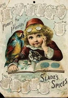 Slades Spices Vintage American Advertising Calendar Card (1898)