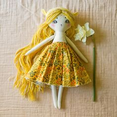 This listing is for a one of a kind Forest Creature Pixie doll. This Pixie doll's hair is a mix of sunny yellow yarn and she is approximately...