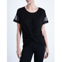 MICHI Farfalla stretch-jersey top (270 CAD) ❤ liked on Polyvore featuring tops, black, knot top, scoop neck top, loose fit tops, stretch jersey and michi
