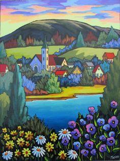 Au petit jour by Louise Marion - Louise Marion, artiste peintre, paysage urbain, Quebec, couleurs