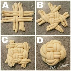How to braid round challah: – Gesundes Abendessen, Vegetarische Rezepte, Vegane Desserts, Challah, Art Du Pain, Bread Recipes, Cooking Recipes, Cooking Bread, Pancake Recipes, Bread Shaping, Bread Art, Braided Bread