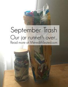 zero waste challenge family of three monthly trash photo