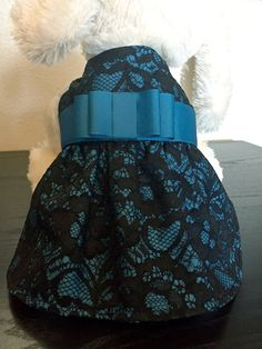 Black Lace Dog Dress with Teal Double Bow  by MetroPAWlitanDesigns