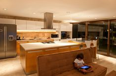 Kitchen Island, Patio Doors, Modern House in Buenos Aires, Argentina