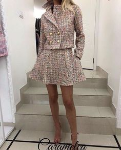 Image may contain: one or more people, people standing and shoes Boujee Outfits, Preppy Outfits, Fashion Outfits, Tweed Outfit, Tweed Dress, Couture Fashion, Boho Fashion, Womens Fashion, Little Girl Summer Dresses