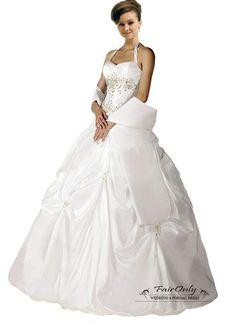 Stock New White Halter-Neck Wedding Dress Bridal Gown Size: 6 8 10 12 14 16