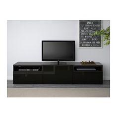 IKEA - BESTÅ, Tv-meubel, wit/Valviken grijsturkoois, laderail, zachtsluitend, , De lades en de deur hebben een geïntegreerde druk-en-openfunctie, dus je hebt geen handgrepen of knoppen nodig en kan ze met slechts een lichte druk openen.Alle snoeren van de tv en andere apparatuur zijn eenvoudig uit het zicht, maar binnen handbereik te houden, omdat er aan de achterkant van het tv-meubel meerdere snoeropeningen zitten.Door de uitsparing aan de bovenkant kan je snoeren makkelijk in het…