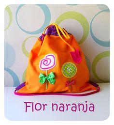 Talega modelo Flor naranja de Algodón de Azucar.
