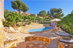Holiday villa with marble garden furniture in Calpe, Costa Blanca, Spain