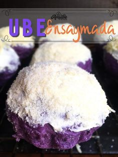 Ube Ensaymada with its delicious ube flavoring is truly a winner! The creamy buttercream topped with Parmigiano cheese makes it even tastier. Filipino Desserts, Asian Desserts, Filipino Recipes, Filipino Food, Pinoy Dessert, Asian Recipes, Ube Recipes, Baking Recipes, Dessert Recipes
